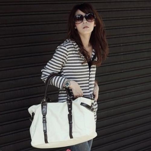 Canvas Faux Leather Straps Handbag