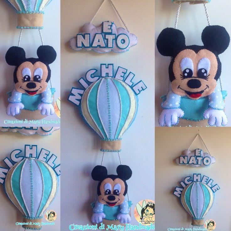 Fiocco Nascita Mongolfiera Mickey Mouse baby