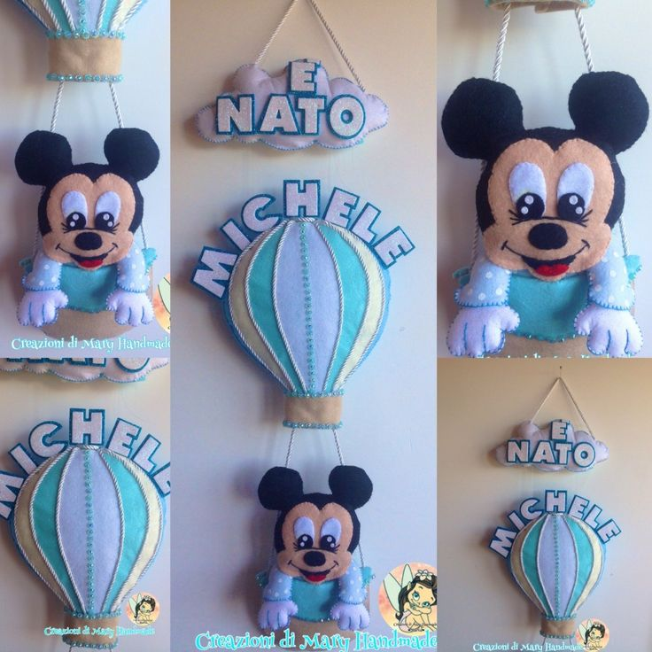Fiocco Nascita Mongolfiera Mickey Mouse baby