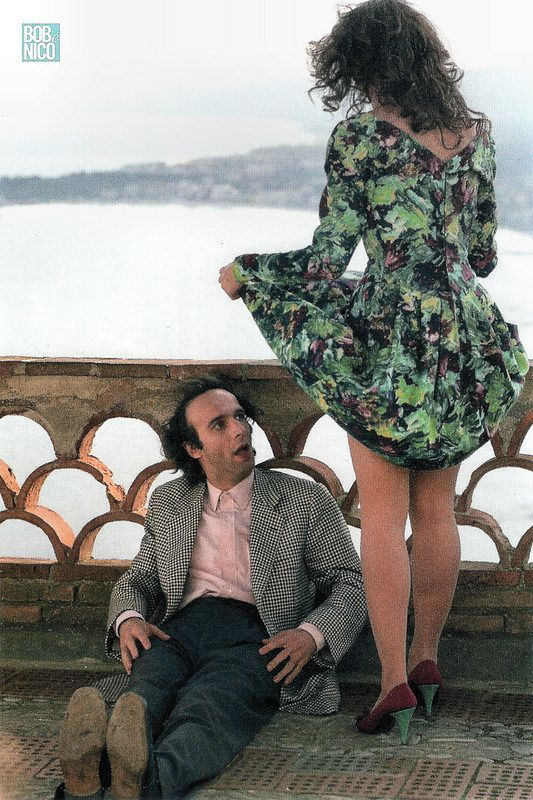 Roberto Benigni, Nicoletta Braschi. Italian postcard by Cineteca Bologna. Photo: Mario Tursi. Publicity still for <i>Il piccolo diavolo/The Little Devil</i>  (Roberto Benigni, 1988).