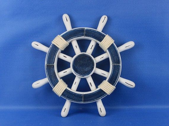 "Painted Wooden Ship Wheels w/Rope 12"" Red, Blue, White or Dark Blue / boat steering wheel for a boat / Nautical Decor Beach Home Decoration, $24.99"