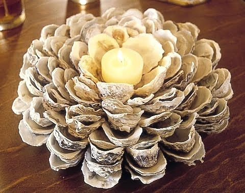 would never had thought of making a candle holder out of oyster shells