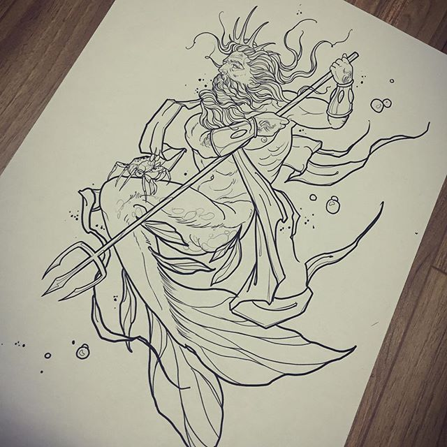 About to to start the line work and some shading on this one. Triton, to go with the ursula tattoo I did a couple of months back.