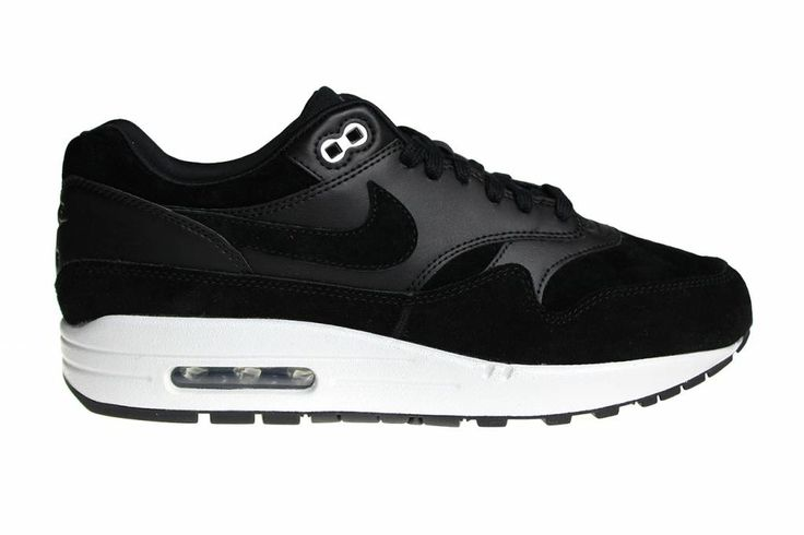 "One of the most popular Nike Air Max 1 shoes of this time: the Nike Air Max 1 Premium ""Skulls"" in black with white for men with a skull in the tong."