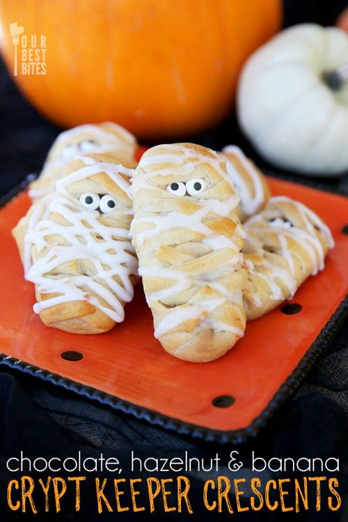 Easy Treats for Spooky Celbrations!  Nutella Banana Mummy Rolls from Our Best Bites