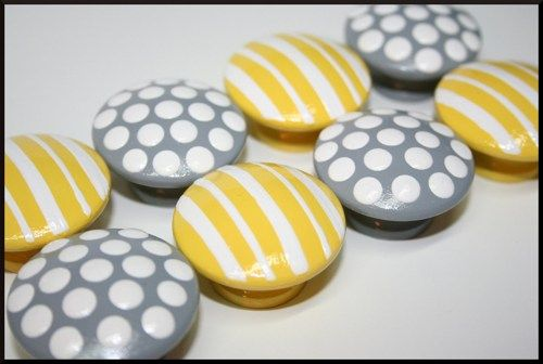 Grey with White Polka Dots and Yellow with White Stripes Knobs   hobknobin - Furniture on ArtFire