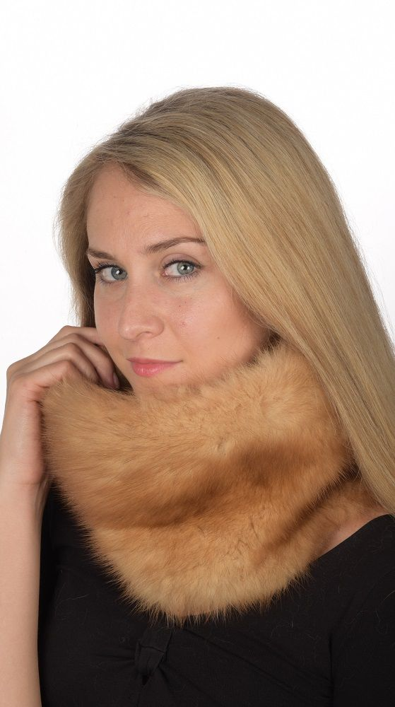 Authentic gold sable fur neck warmer. Real fur accessory. Handmade in Italy.  www.amifur.co.uk