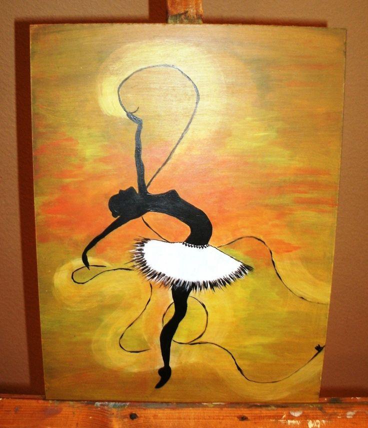 Dancer with ribbon. By Ieva Krivma. Acrylic. 30x40 cm. Pressed cardboard