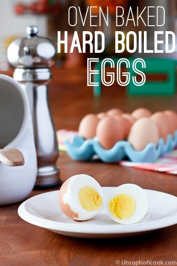 Easiest way to hard boil eggs: bake eggs in a mini muffin tin at 325° for 30 minutes. Immediately place baked eggs in ice water for 10 min.