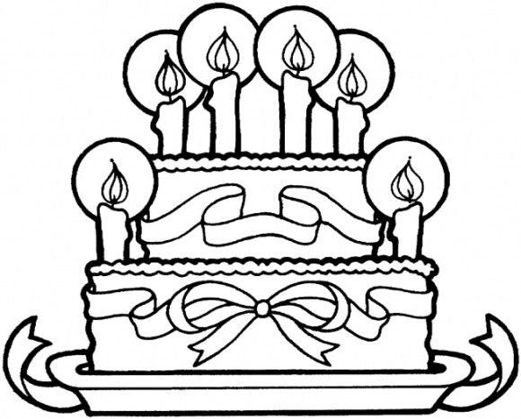ribbon and cake happy birthday coloring pages free