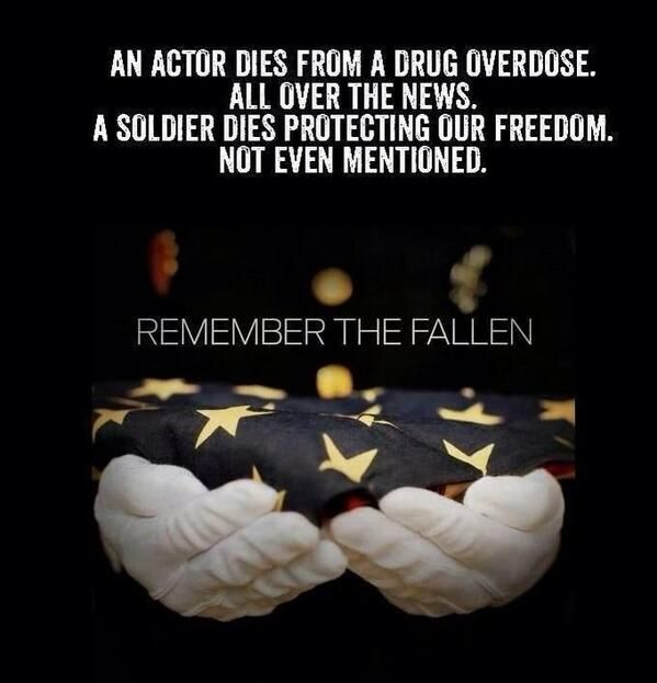 An actor dies from a drug overdose - all over the news. A soldier dies protecting our freedom - not even mentioned.  #RememberTheFallen
