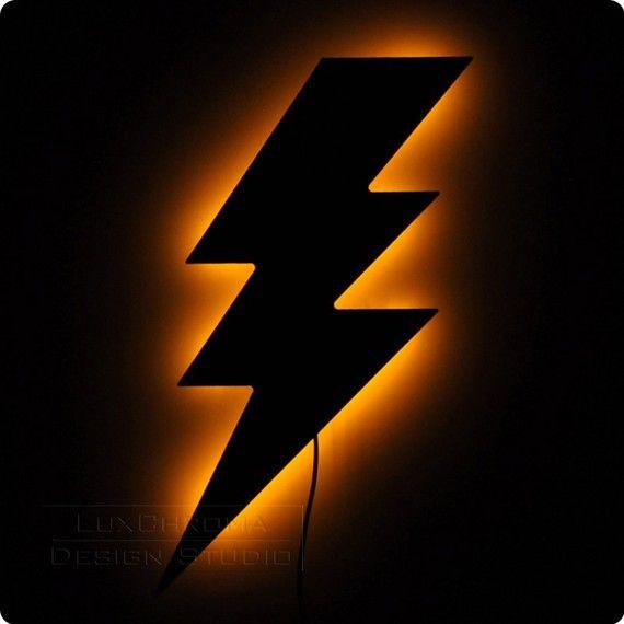 Lighting Bolt Wall Light  Illuminated Wall Art by LuxChroma, $65.00