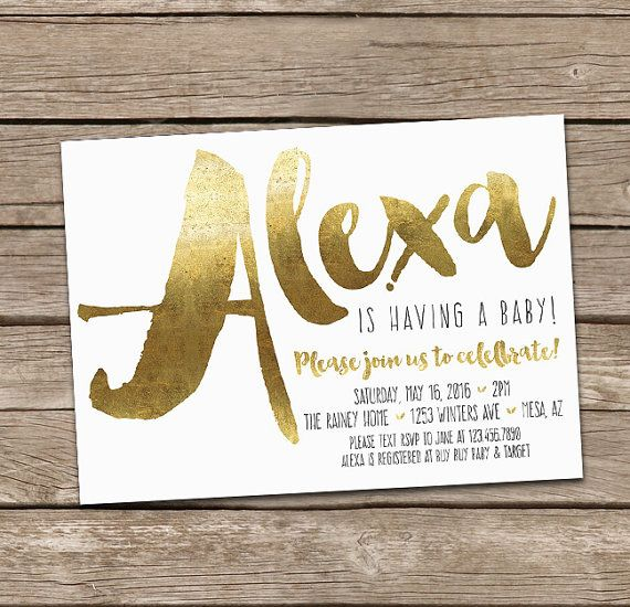 Baby Shower Invitation : Faux Gold Foil or Watercolor by deanworks