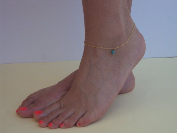 Gold Anklet  Beach Ankle Bracelet  Turquoise by VasiaAccessories