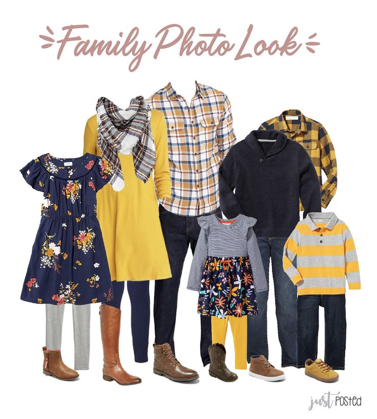 Navy & Mustard Yellow Family Picture Look
