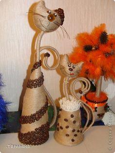 Поделка изделие Моделирование конструирование кофейные кошки Бусины Кофе Проволока Шпагат фото 1