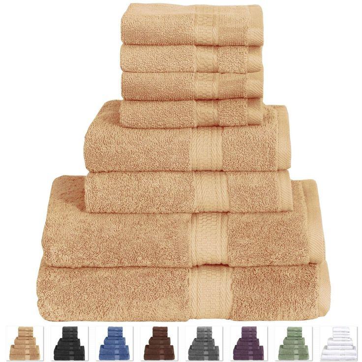 Beige 8 Piece Luxurious Cotton Bath Towel Hand Towels