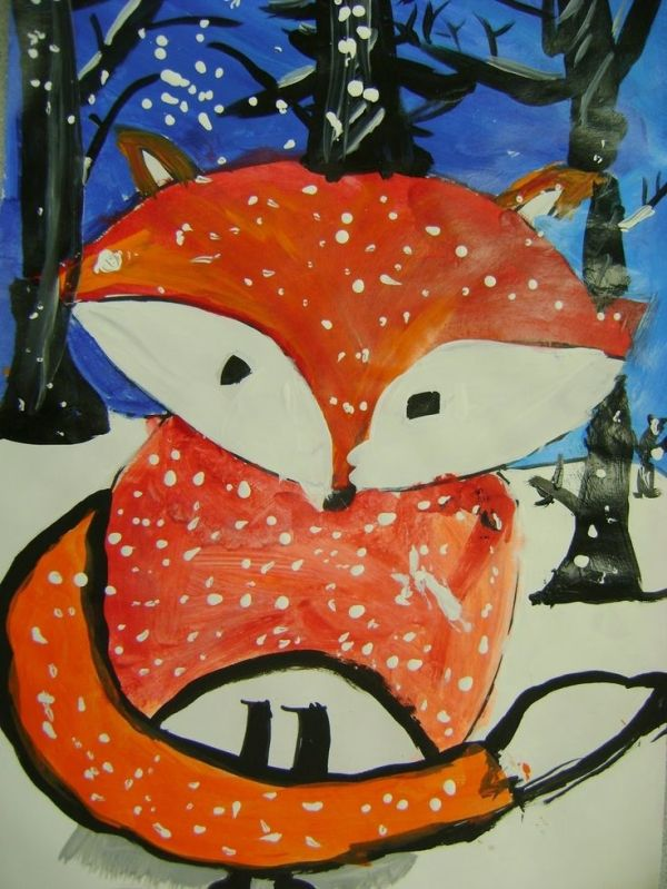 Little Dog Art Blog: 5th Grade Winter Fox Paintings ...