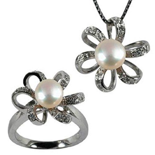 """Morning Bloom White Cultured Pearl Cubic Zirconia Platinum Overlay Sterling Silver Pendant Necklace 16"""" & Ring Set Size 5 Dahlia. $106.45. Save 52%!"""