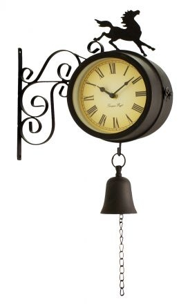 """Horse and Bell Clock with Thermometer - 47cm (18.7"""")"""