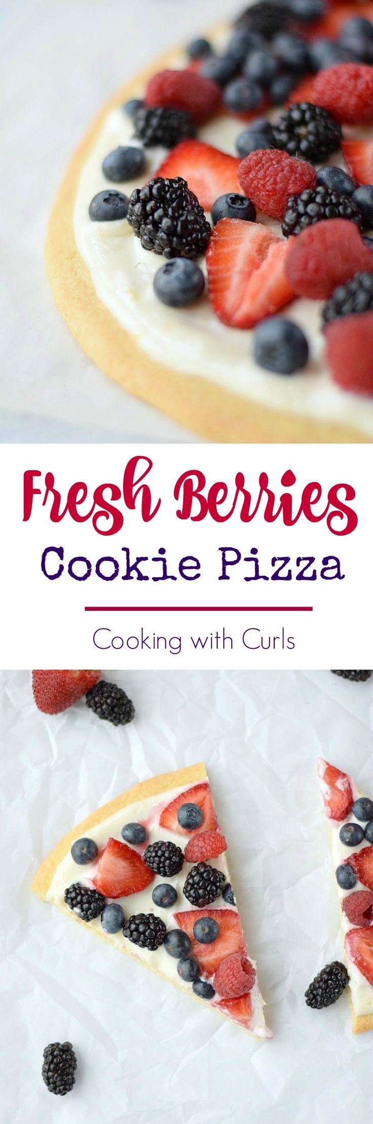 Celebrate summer's wonderful fruits with a delicious Fresh Berries Cookie Pizza and a nice cold drink | cookingwithcurls.com