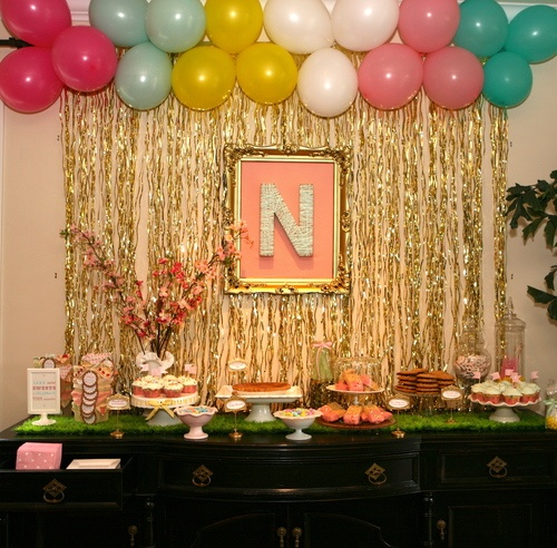 Gold Curtain Amp Balloon Backdrop Sip N See Baby Shower