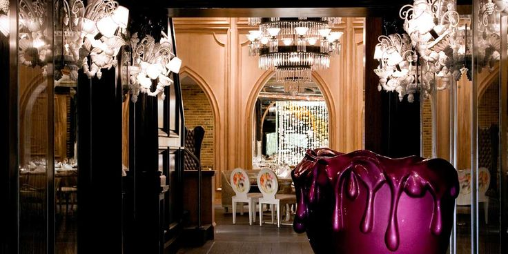 The Forge Restaurant in Miami - Love the way its decorated with crazy random chairs, tables, ceiling, chandeliers.  Love it!
