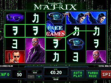 Ігровий автомат Matrix онлайн з виведенням грошей Сюжет однойменного відомого фільму став основою тематики ігрового апарату Matrix. У цьому онлайн автоматі ви будете грати на гроші на 50 лініях. З виведенням реальних виплат вам допоможуть два типи фріспінов.