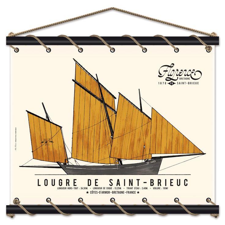Lougre de Saint-Brieuc - Panneau décoratif 85x70 CM - Fabrication Atelier Blaudeau