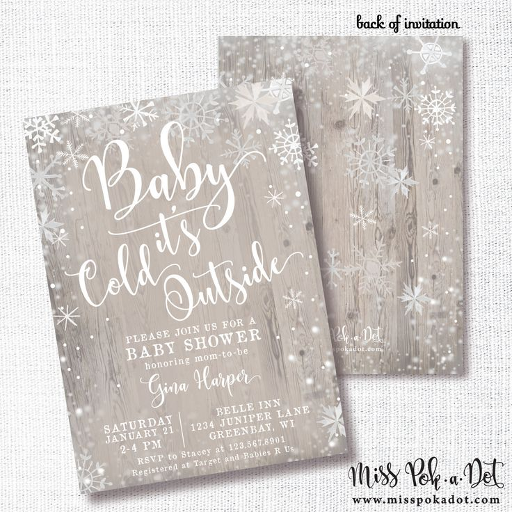 RUSTIC BABY its COLD outside winter baby shower sprinkle invitation gender neutral white grey tan watercolor snowflake wood by misspokadot on Etsy