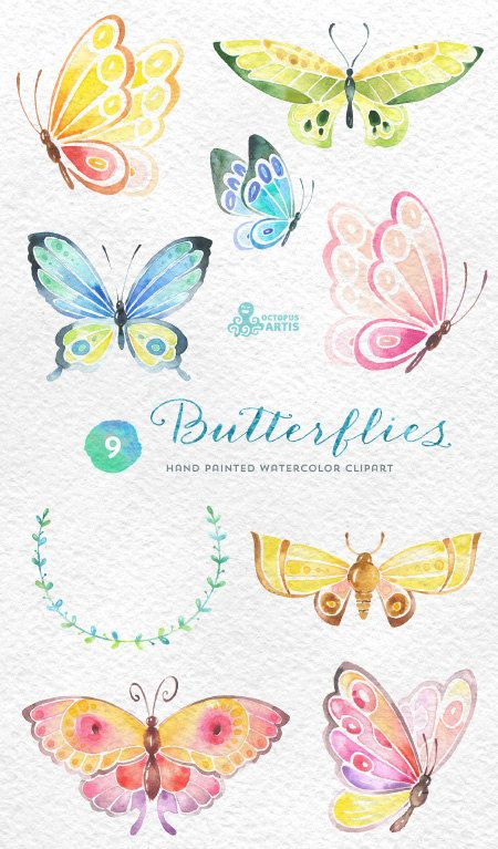 Butterflies Watercolor: 9 Separate hand painted por OctopusArtis