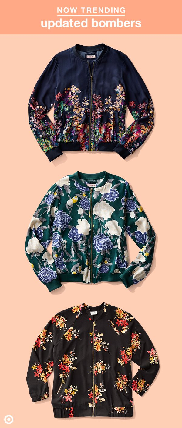 Bomber jackets are in and the coolest ones are anything but boring. Our faves are all floral! Whether it's all-over mod prints or smaller details, a floral jacket is the perfect way to get on this spring's trend of femininity.