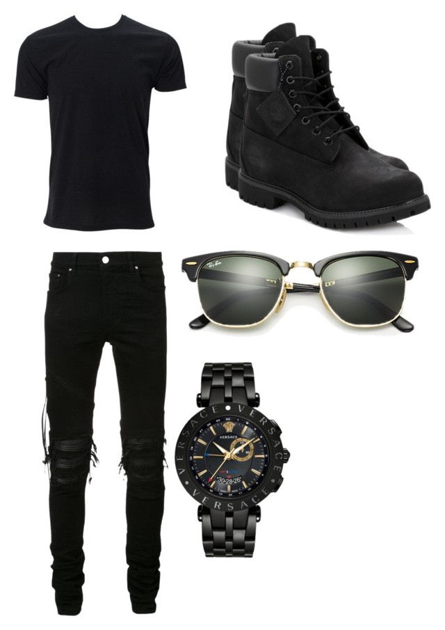 """#15"" by hotgluegun1 on Polyvore featuring Simplex Apparel, AMIRI, Timberland, Ray-Ban, Versace, men's fashion and menswear"