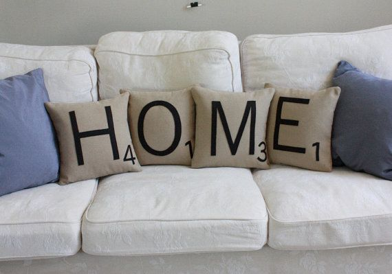 Scrabble letter pillows! Too cute!