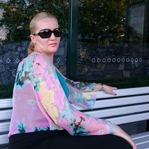 Pink Watercolour Chiffon Bolero Shrug Jacket