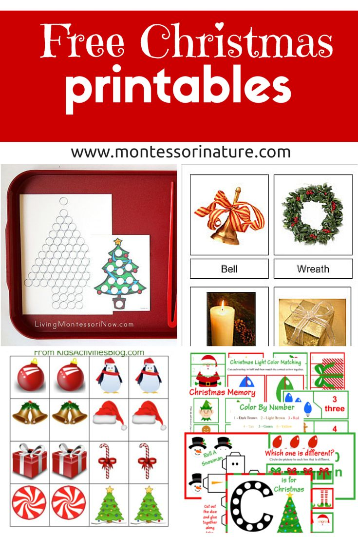 Free Christmas Printables - Learning Resources for Preschool Kids   Montessori Nature