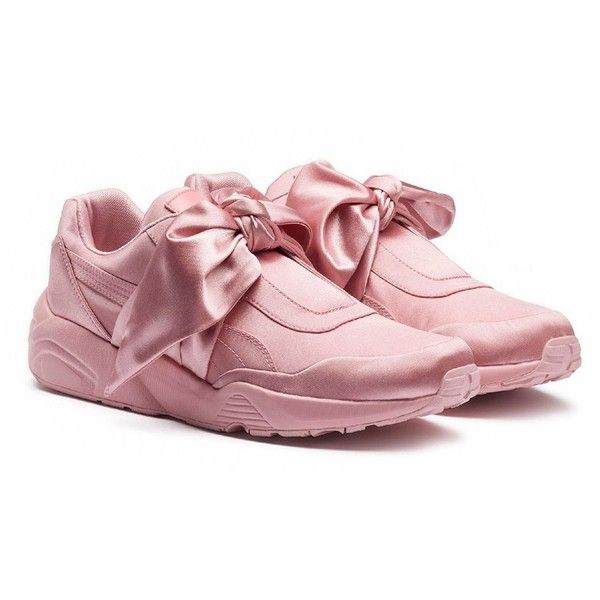 Fenty Puma x Rihanna Women's Satin Bow Sneakers (£125) ❤ liked on Polyvore featuring shoes, sneakers, pink, puma trainers, puma sneakers, puma footwear, rubber sole shoes and puma shoes
