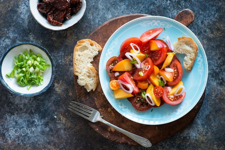 Colorful heirloom tomato and peaches salad - Colorful heirloom tomato and…