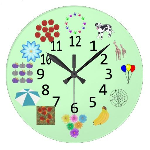 Counting Learning Wall Clock with Numbers - Kids can count the items next to each number to help them learn to tell time.