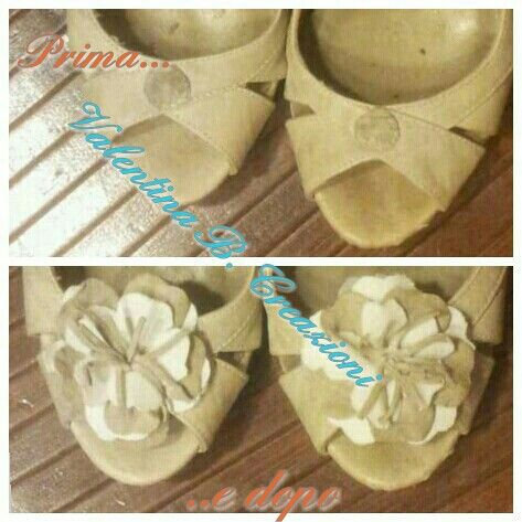 #sandals #flower #ornaments #handmade with #fabric and #leather by #valentinabcreazioni
