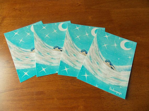 "4 Pieces Set of Art Postcard ""In Angel Wings"""