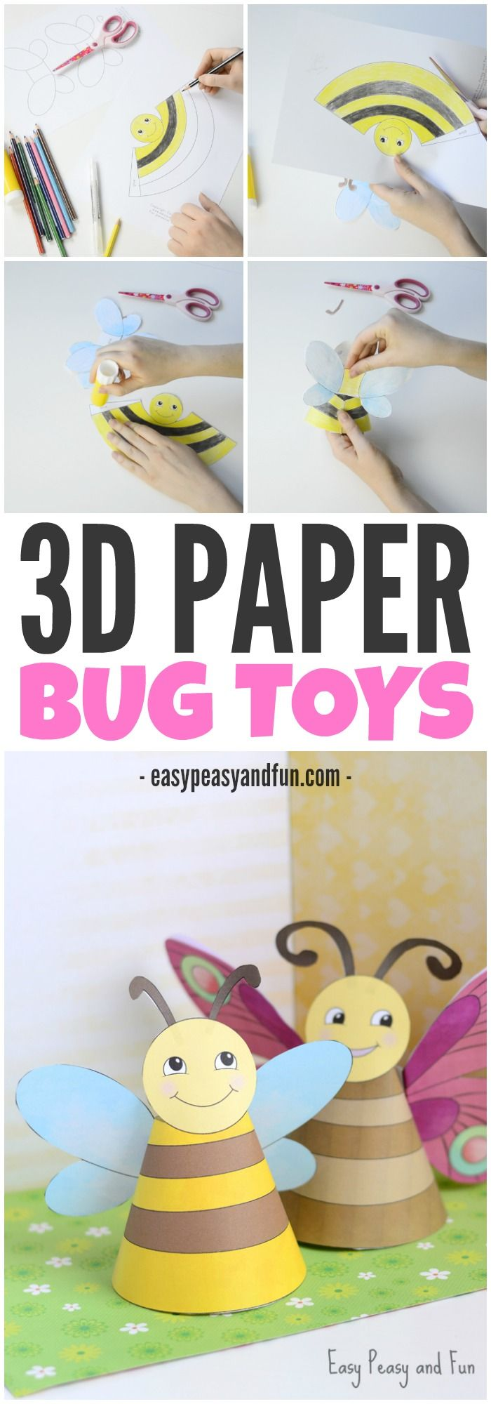 Adorable Paper bug toys! A cute 3D craft for kids to make this spring!