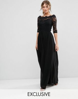 Шифоновое платье макси со спущенными плечами и кружевом Little Mistress