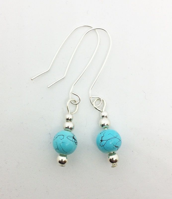 Turquoise dangle earrings, Leonora