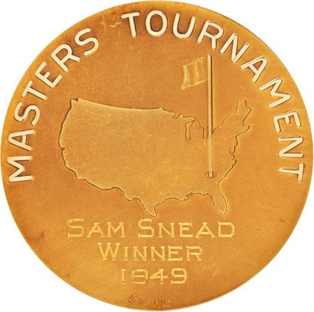 The gold medal awarded to Sam Snead upon his winning of the 1949 Masters Championship, held at Augusta.