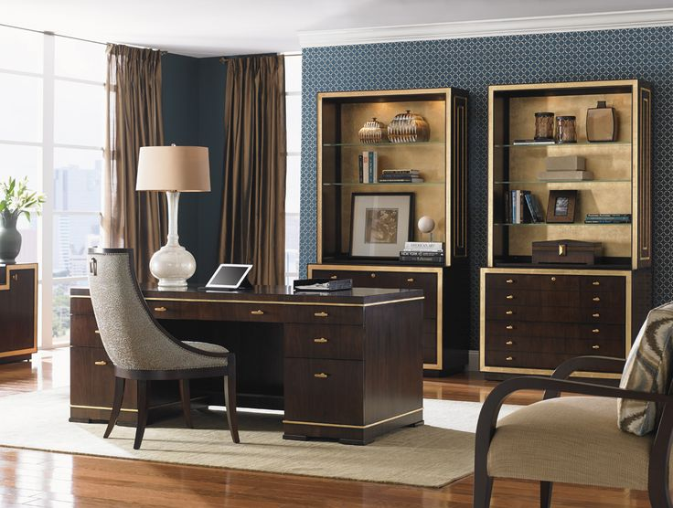 Riverside Home Office Executive Desk 44732: Bel Aire Paramount Executive Desk With Gold Accents