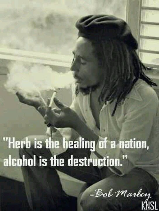 Bob Marley quote on smoking marijuana drinking alcohol.