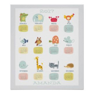 Kids 2017 Personalized Calendar Poster
