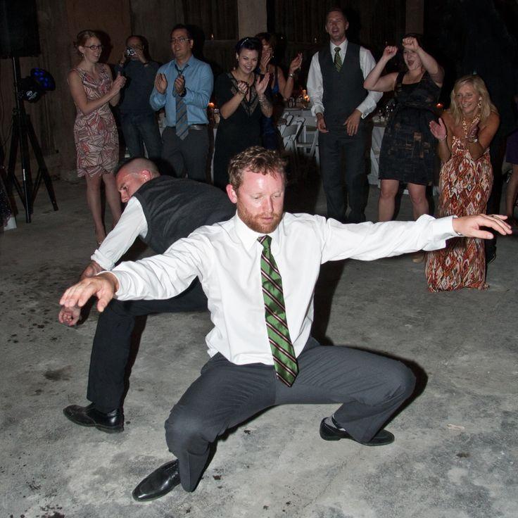 "Absolute DJS - Wedding guest dancing to ""Rasputin"" a 1978 euro disco hit."