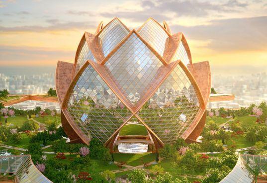 City in the Sky: Futuristic Flower Towers Soar Above Modern Metropolises